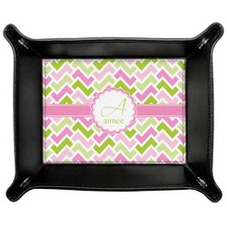 Pink & Green Geometric Genuine Leather Valet Tray (Personalized)