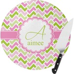 Pink & Green Geometric Round Glass Cutting Board (Personalized)