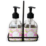 Pink & Green Geometric Soap & Lotion Dispenser Set (Glass) (Personalized)