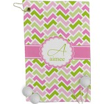 Pink & Green Geometric Golf Towel - Full Print (Personalized)