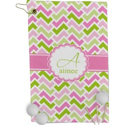 Pink & Green Geometric Golf Towel - Full Print (Personalized)