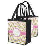 Pink & Green Geometric Grocery Bag (Personalized)