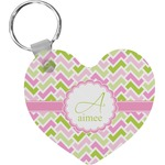 Pink & Green Geometric Heart Keychain (Personalized)