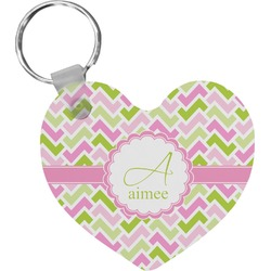 Pink & Green Geometric Heart Keychain (Personalized)