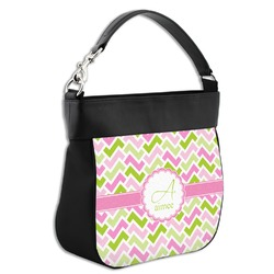 Pink & Green Geometric Hobo Purse w/ Genuine Leather Trim (Personalized)
