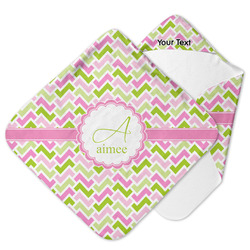 Pink & Green Geometric Hooded Baby Towel (Personalized)