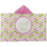 Pink & Green Geometric Kids Hooded Towel (Personalized)