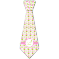 Pink & Green Geometric Iron On Tie - 4 Sizes w/ Name and Initial