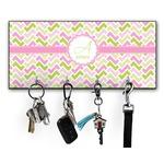 Pink & Green Geometric Key Hanger w/ 4 Hooks w/ Name and Initial