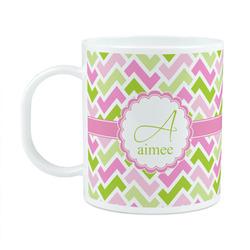 Pink & Green Geometric Plastic Kids Mug (Personalized)