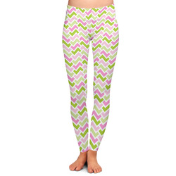 Pink & Green Geometric Ladies Leggings (Personalized)