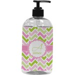 Pink & Green Geometric Plastic Soap / Lotion Dispenser (Personalized)