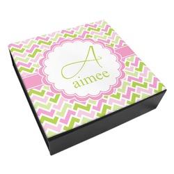 Pink & Green Geometric Leatherette Keepsake Box - 3 Sizes (Personalized)