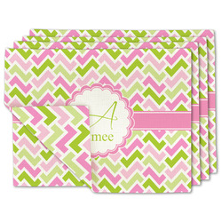 Pink & Green Geometric Linen Placemat w/ Name and Initial