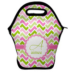 Pink & Green Geometric Lunch Bag w/ Name and Initial