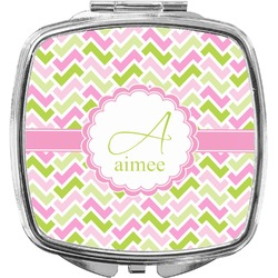 Pink & Green Geometric Compact Makeup Mirror (Personalized)