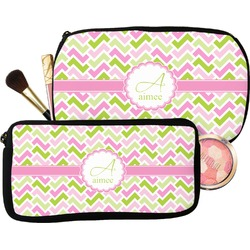Pink & Green Geometric Makeup / Cosmetic Bag (Personalized)