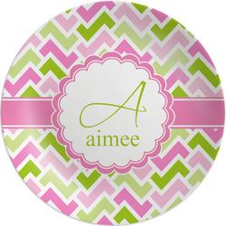 "Pink & Green Geometric Melamine Plate - 8"" (Personalized)"