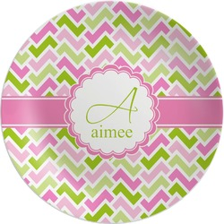 Pink & Green Geometric Melamine Plate (Personalized)