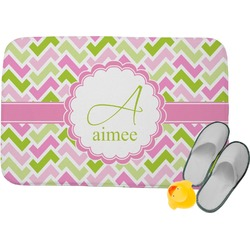 Pink & Green Geometric Memory Foam Bath Mat (Personalized)
