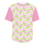 Pink & Green Geometric Men's Crew T-Shirt (Personalized)