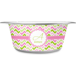Pink & Green Geometric Stainless Steel Dog Bowl (Personalized)