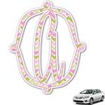 Pink & Green Geometric Monogram Car Decal (Personalized)