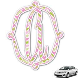 Pink & Green Geometric Monogram Car Decal (Personalized)