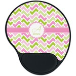 Pink & Green Geometric Mouse Pad with Wrist Support