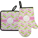 Pink & Green Geometric Oven Mitt & Pot Holder (Personalized)