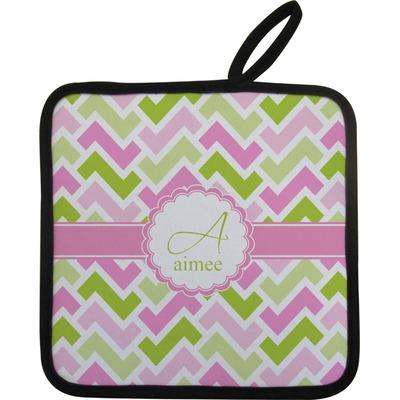 Pink & Green Geometric Pot Holder (Personalized)