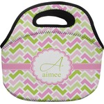 Pink & Green Geometric Lunch Bag (Personalized)