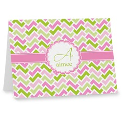 Pink & Green Geometric Notecards (Personalized)