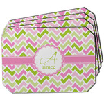 Pink & Green Geometric Dining Table Mat - Octagon w/ Name and Initial