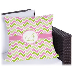 Pink & Green Geometric Outdoor Pillow (Personalized)
