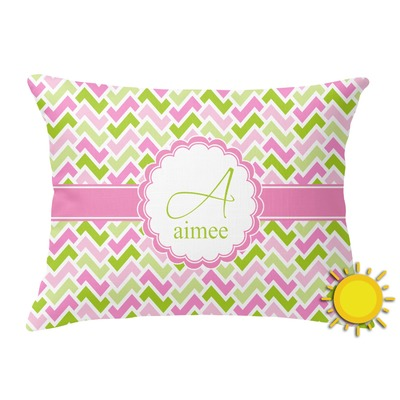 Pink & Green Geometric Outdoor Throw Pillow (Rectangular) (Personalized)