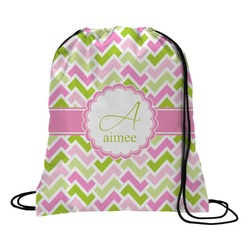 Pink & Green Geometric Drawstring Backpack (Personalized)