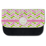 Pink & Green Geometric Canvas Pencil Case w/ Name and Initial