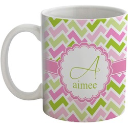 Pink & Green Geometric Coffee Mug (Personalized)