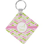 Pink & Green Geometric Diamond Key Chain (Personalized)