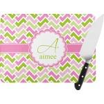 Pink & Green Geometric Rectangular Glass Cutting Board (Personalized)