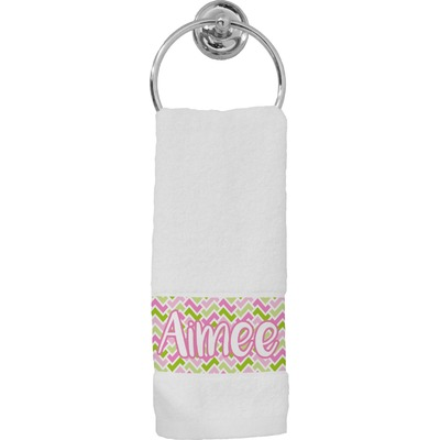 Pink & Green Geometric Hand Towel (Personalized)
