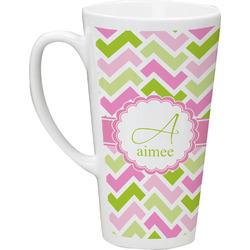 Pink & Green Geometric 16 Oz Latte Mug (Personalized)