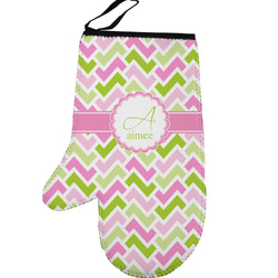 Pink & Green Geometric Left Oven Mitt (Personalized)