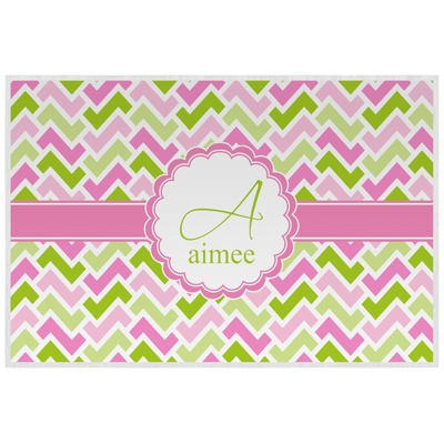 Pink & Green Geometric Laminated Placemat w/ Name and Initial