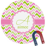 Pink & Green Geometric Round Magnet (Personalized)