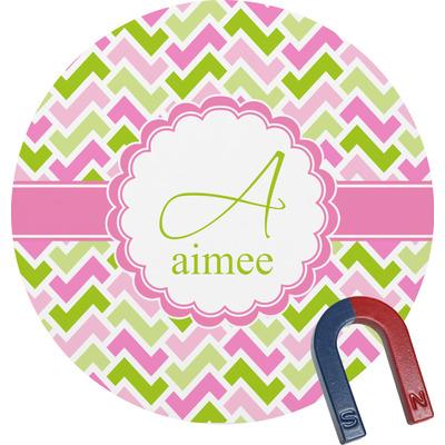 Pink & Green Geometric Round Fridge Magnet (Personalized)
