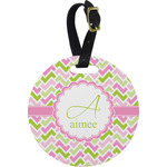 Pink & Green Geometric Round Luggage Tag (Personalized)