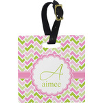 Pink & Green Geometric Square Luggage Tag (Personalized)