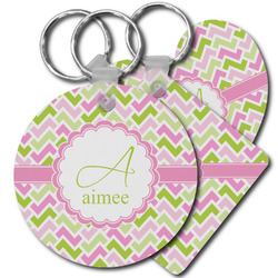 Pink & Green Geometric Plastic Keychains (Personalized)